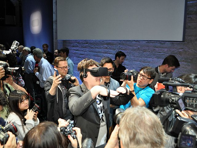 Oculus founder Palmer Luckey shows off the Rift at an event in San Francisco in June 2015.