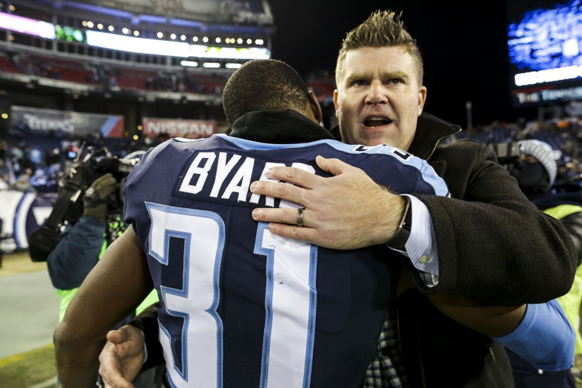 Tennessee Titans GM Jon Robinson hugs S Kevin Byard