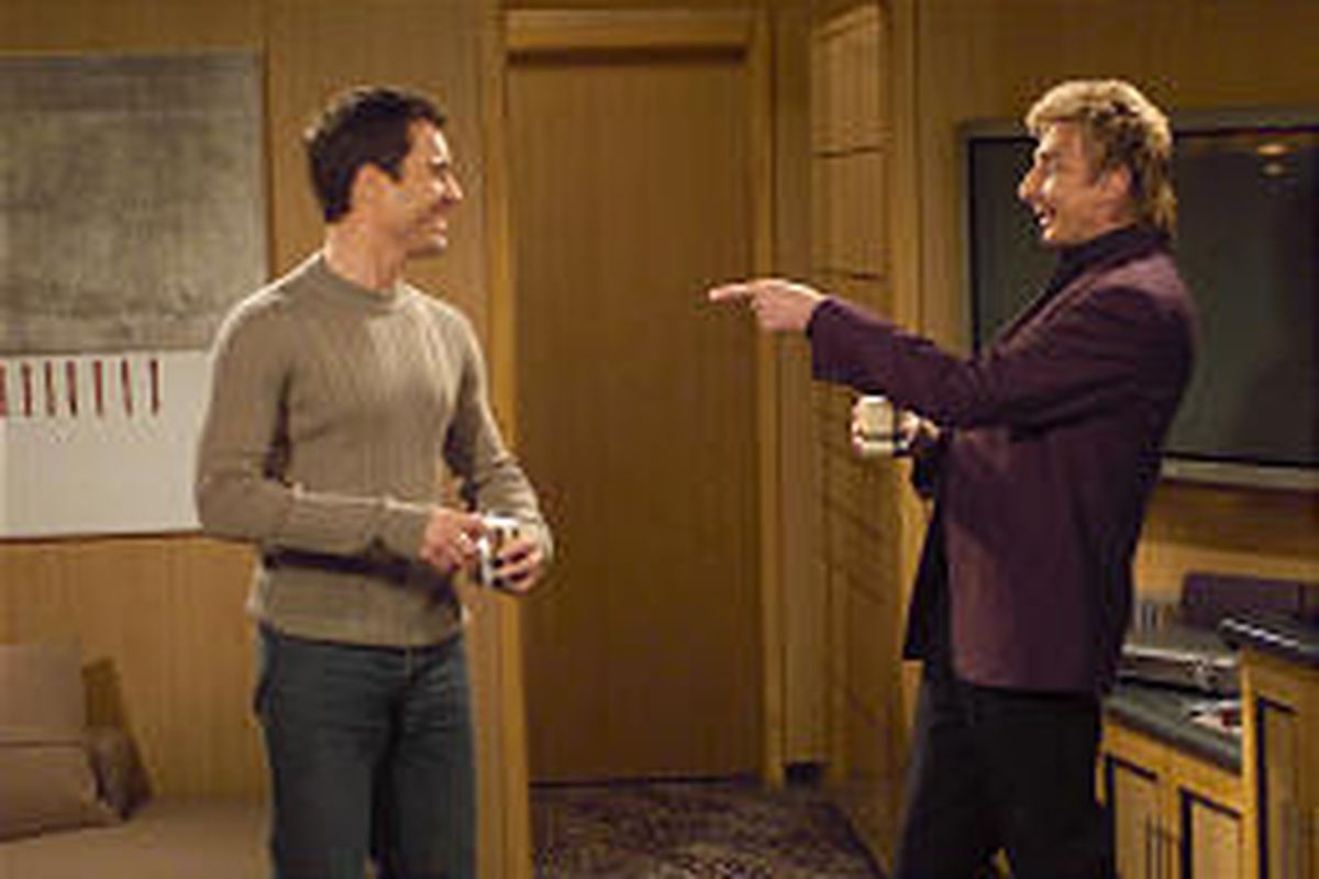 """Eric McCormack and guest star Barry Manilow are in an episode of """"Will \\\\& Grace"""" that aired last season."""
