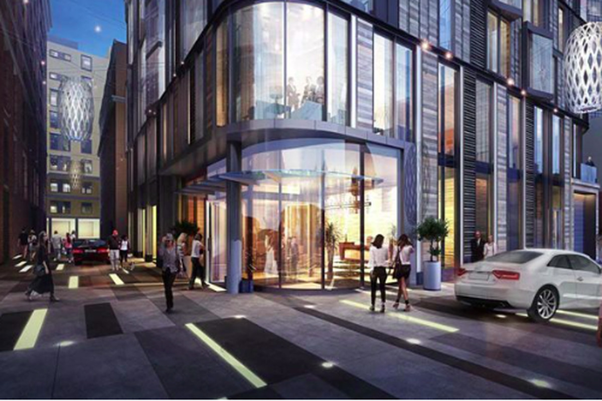 A street-level rendering of a new Theater District apartment building.