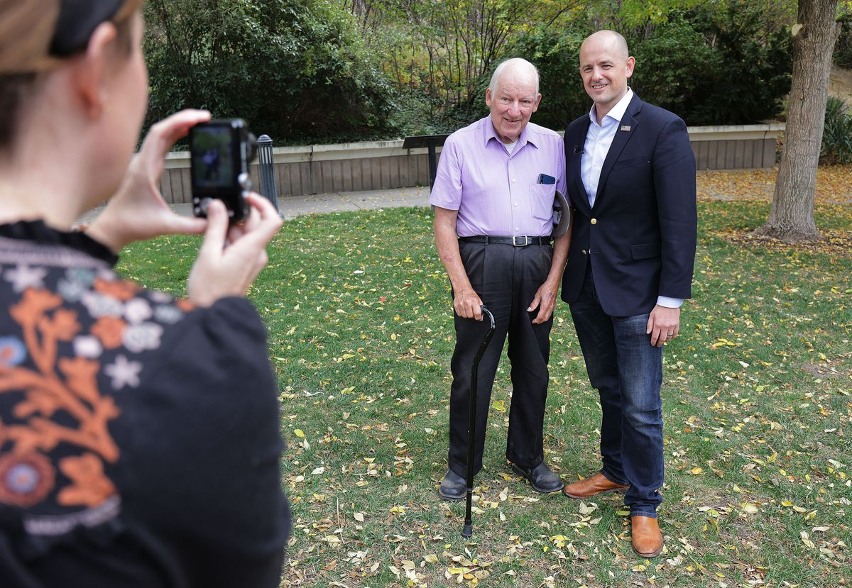 A photo is taken of Evan McMullin and Arnold Thayer in Salt Lake City.