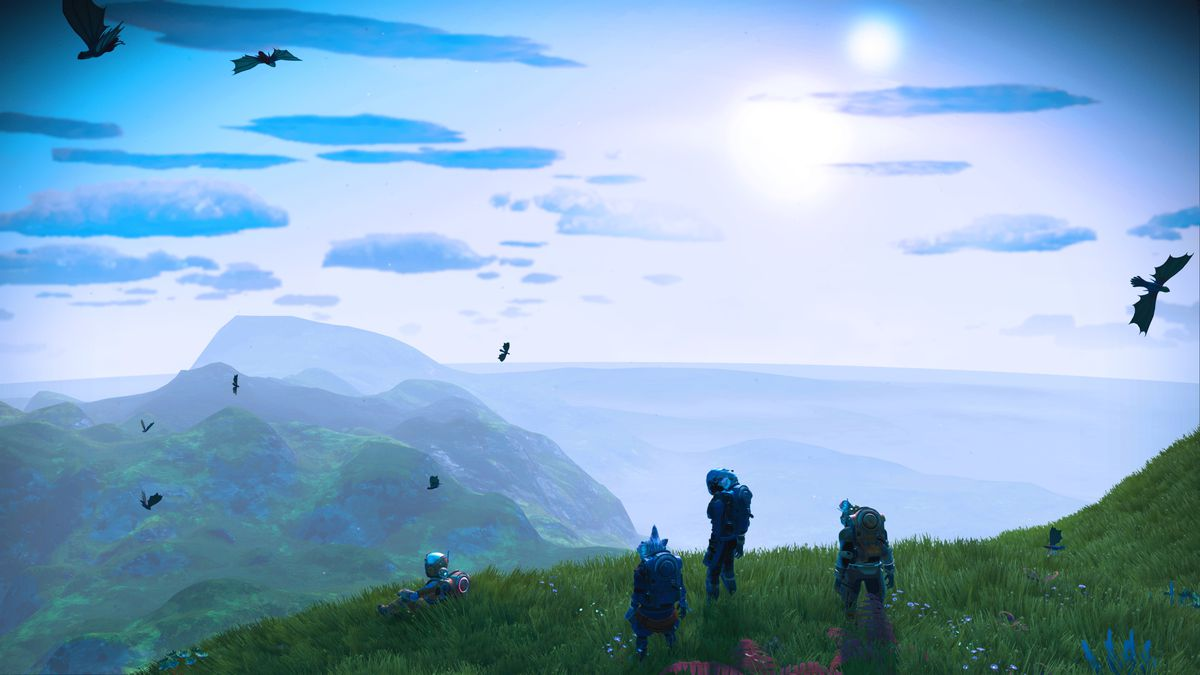 A group of astronauts look out upon a blue sky in a screenshot from No Man's Sky: Origins