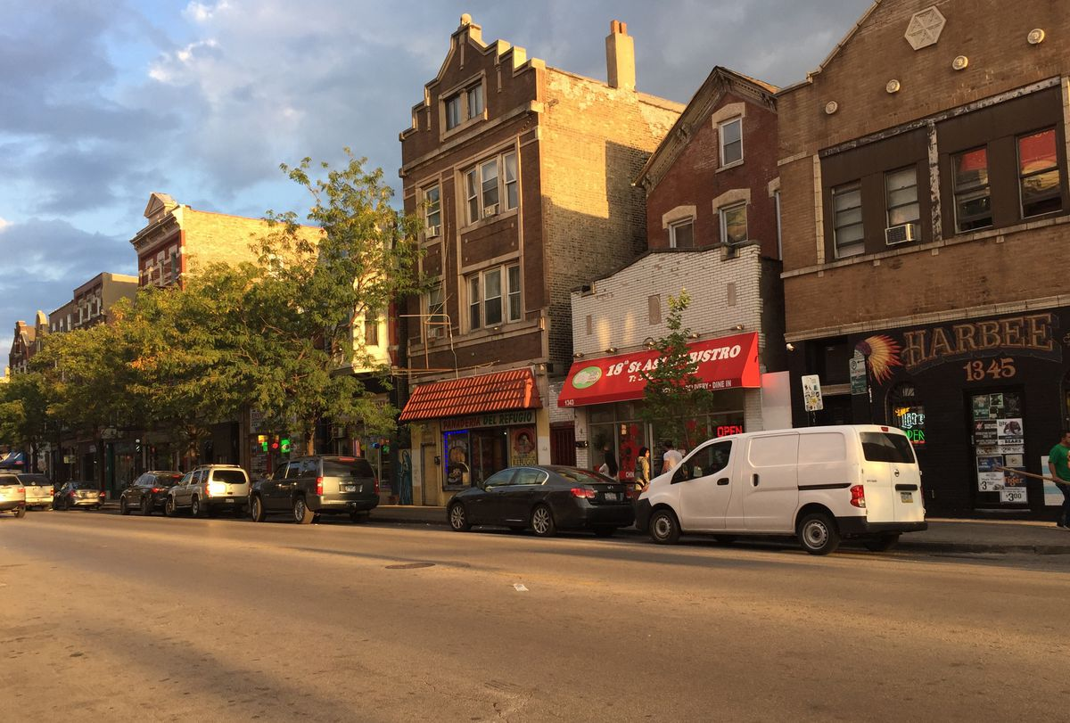 18th Street in Pilsen, a Chicago neighborhood where many have ties to Mexico.   Sam Charles/Sun-Times