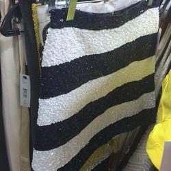 Sample navy and white striped skirt, $99