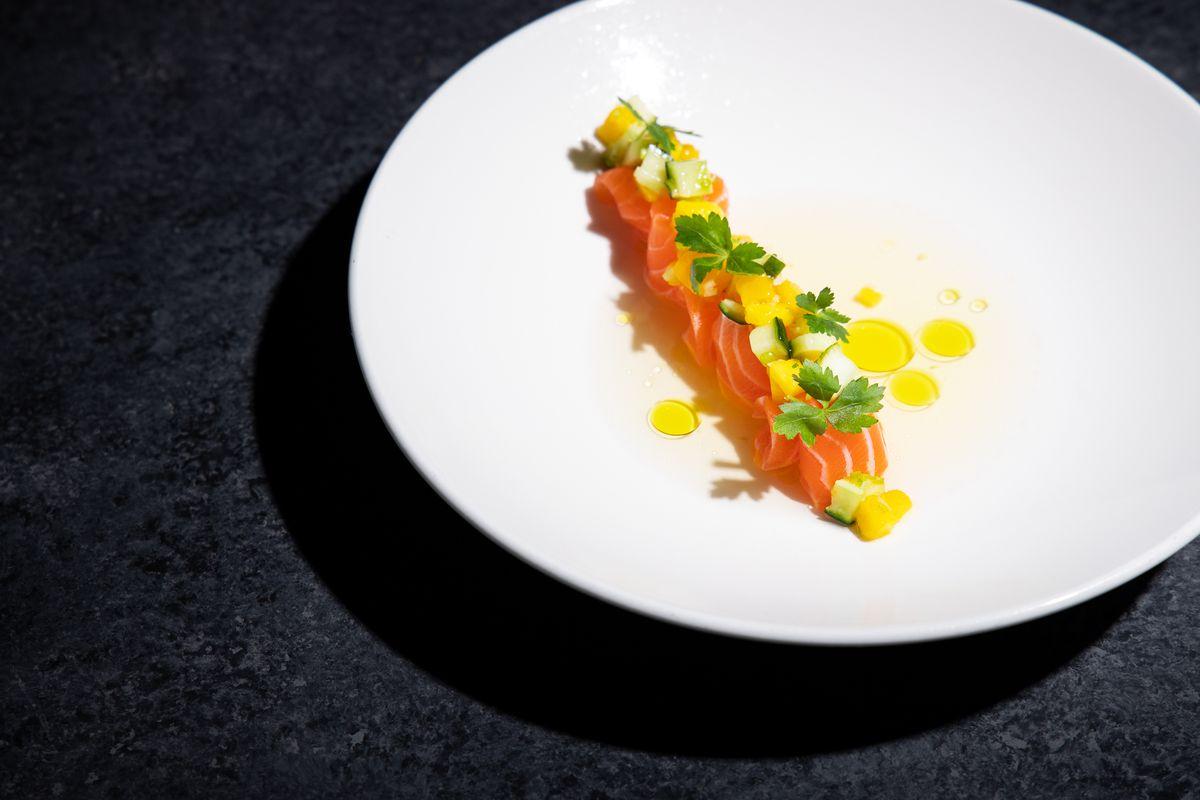 salmon sashimi at Uchiko