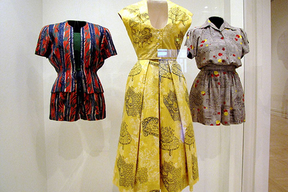 """1940's/'50s fashion in a textile exhibit at LACMA. Image via <a href=""""http://www.flickr.com/photos/susanmyrland/3737145974/in/photostream/"""">s myrland</a>/flickr"""