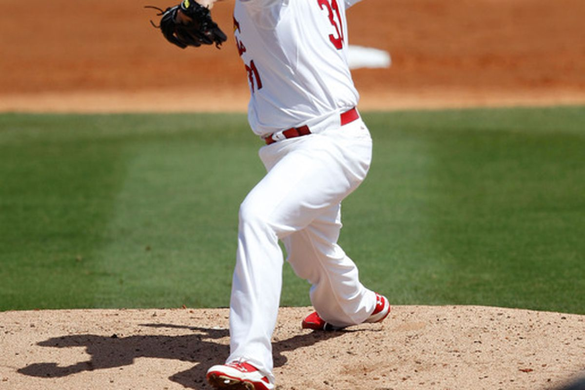 JUPITER, FL - MARCH 14: Lance Lynn #31 of the St. Louis Cardinals pitches during a game against the Houston Astros at Roger Dean Stadium on March 14, 2012 in Jupiter, Florida.  (Photo by Sarah Glenn/Getty Images)