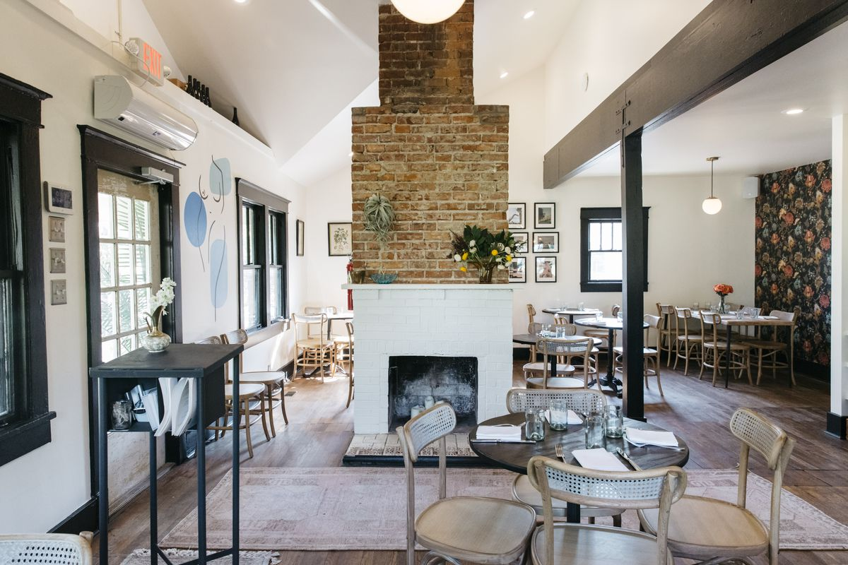 The centerpiece of the house/restaurant is the brick fireplace, original to the home