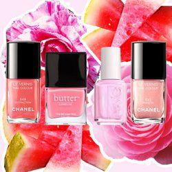 """<b>Chanel</b> """"Distraction,"""" <b>Butter London</b> """"Trout Pout,"""" <b>Essie</b> """"Pink-a-Boo,"""" <b>Chanel</b> """"Frisson."""""""