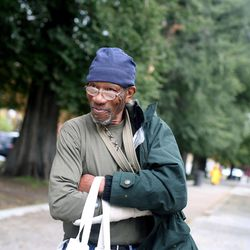 Moe, who has been in and out of a home for 18 years, refers to Salt Lake City's Pioneer Park as the biggest ghetto in Utah on Thursday, Oct. 10, 2013. Moe would like to see a canopy or awning hung in the park so that people could stay dry in bad weather. He also suggested lockers should be installed so that the homeless have a place to store their belongings for the day.