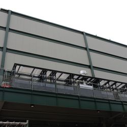 2:33 p.m. The back of the right-field video board -