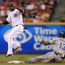Los Angeles Dodgers' Hanley Ramirez (13) steals second base as Cincinnati Reds second baseman Brandon Phillips catches the late throw in the second inning of a baseball game, Friday, Sept. 21, 2012, in Cincinnati.