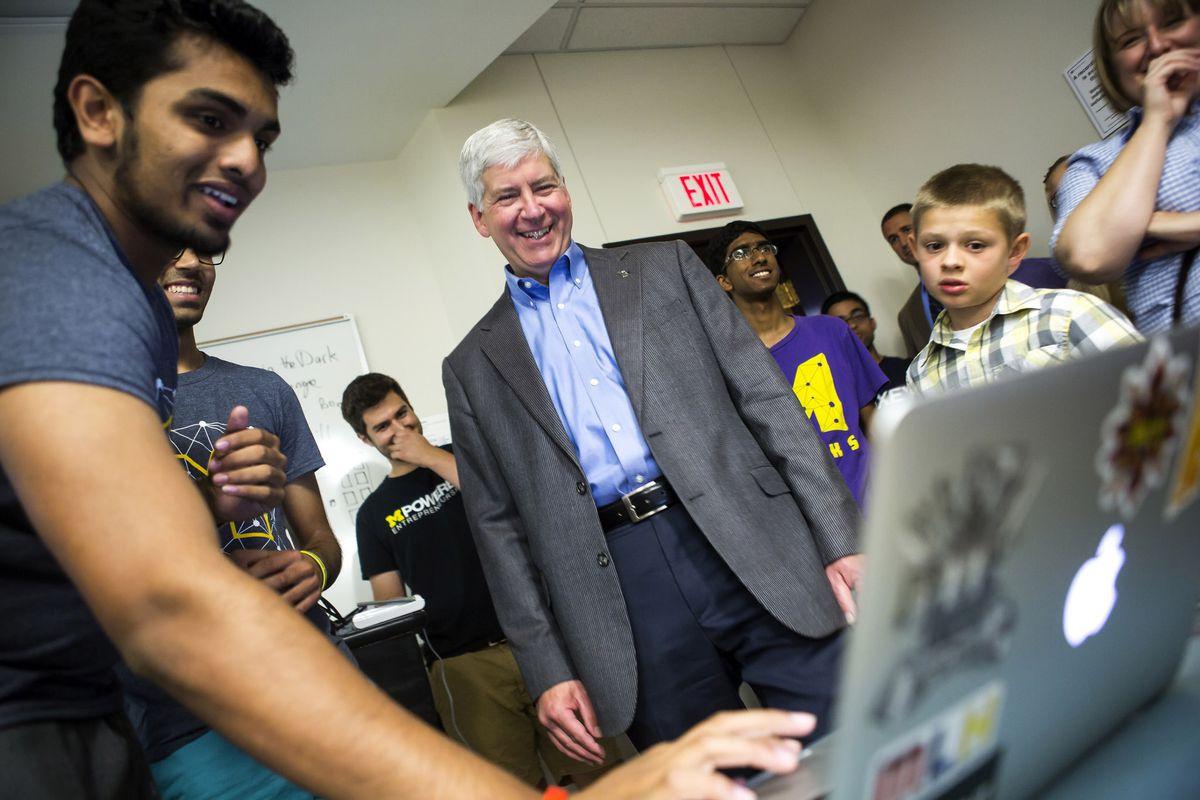 Michigan governor Rick Snyder at a hackathon