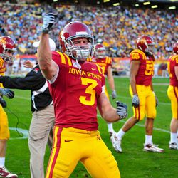 Iowa State Cyclones cornerback Zac Sandvig (3) celebrates a special teams tackle in the 2nd quarter of a game against the Minnesota Golden Gophers in the 2009 Insight Bowl at Sun Devil Stadium.