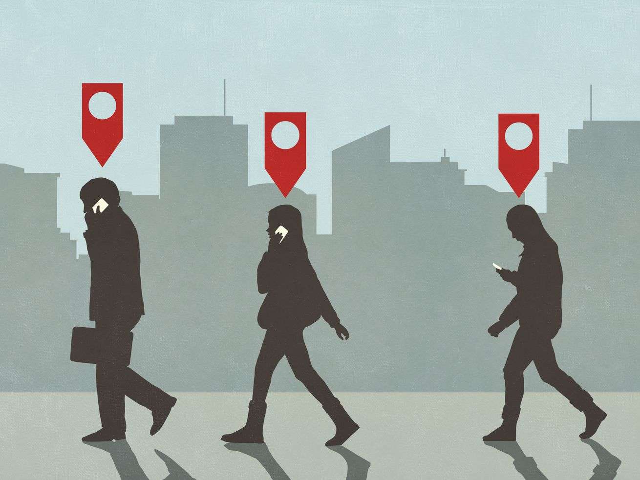 An illustration of three people in silhouette walking along a city street, each with a red arrow tag over their head.