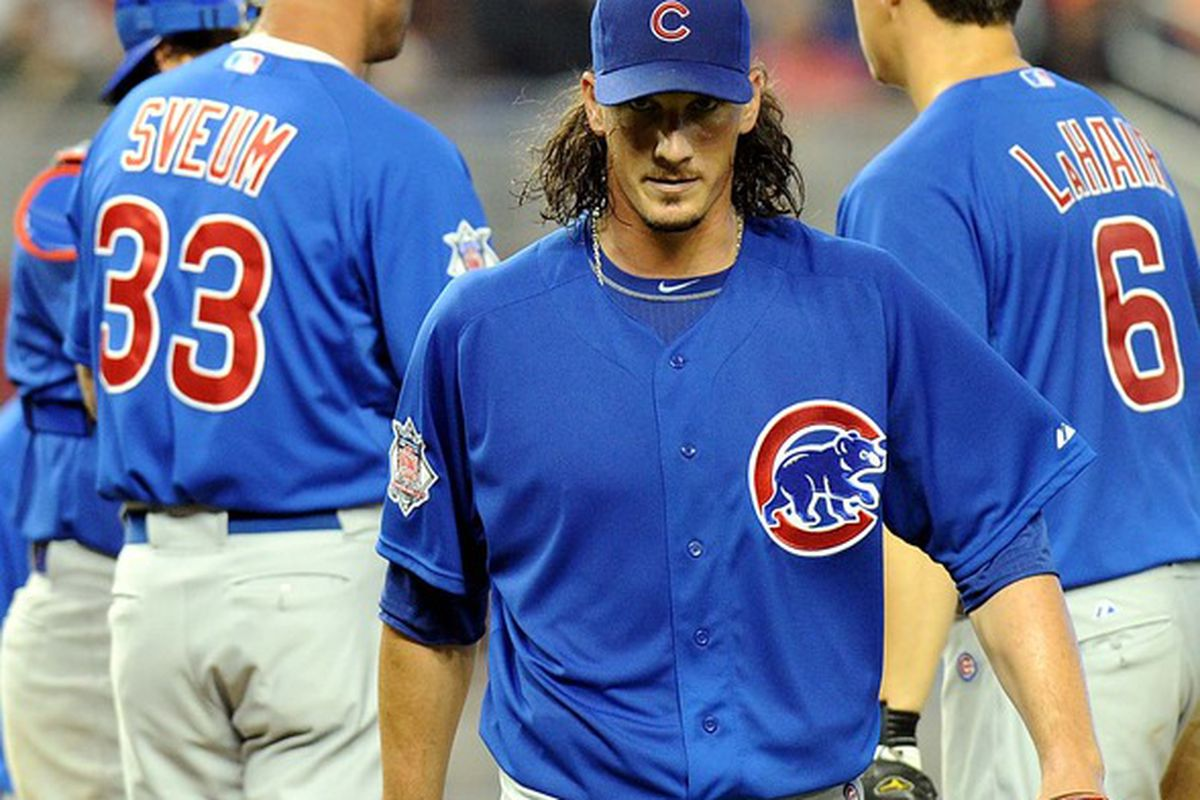 Miami, FL, USA; Chicago Cubs pitcher Jeff Samardzija is taken out of the game in the fourth inning against the Miami Marlins at Marlins Park. Mandatory Credit: Steve Mitchell-US PRESSWIRE
