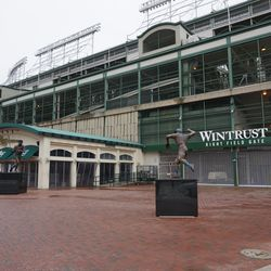 A last look at the open space, outside the Wintrust Right Field Gate (formerly Gate D), at Addison and Sheffield