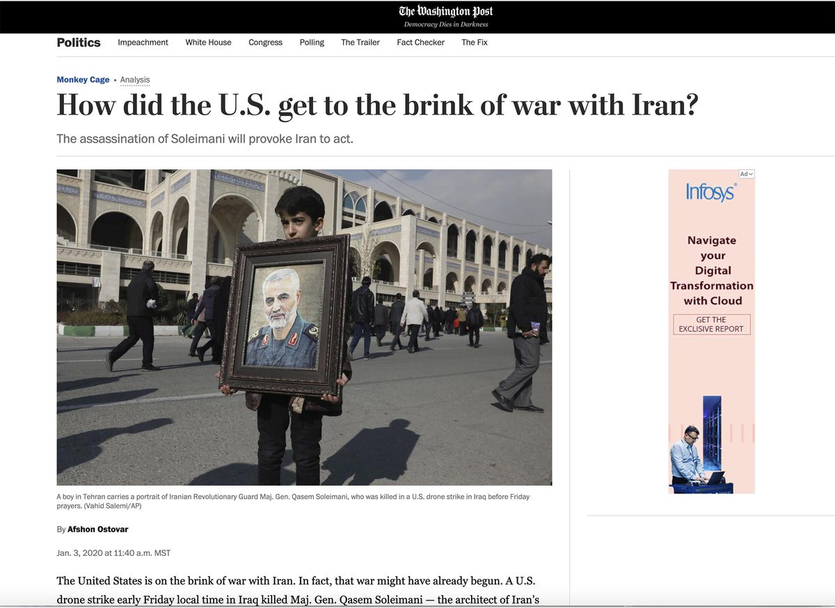 """The Washington Post's Politics page displayed a headline asking the question """"How did the U.S. get to the brink of war with Iran"""" on Friday, Jan. 3, 2020."""