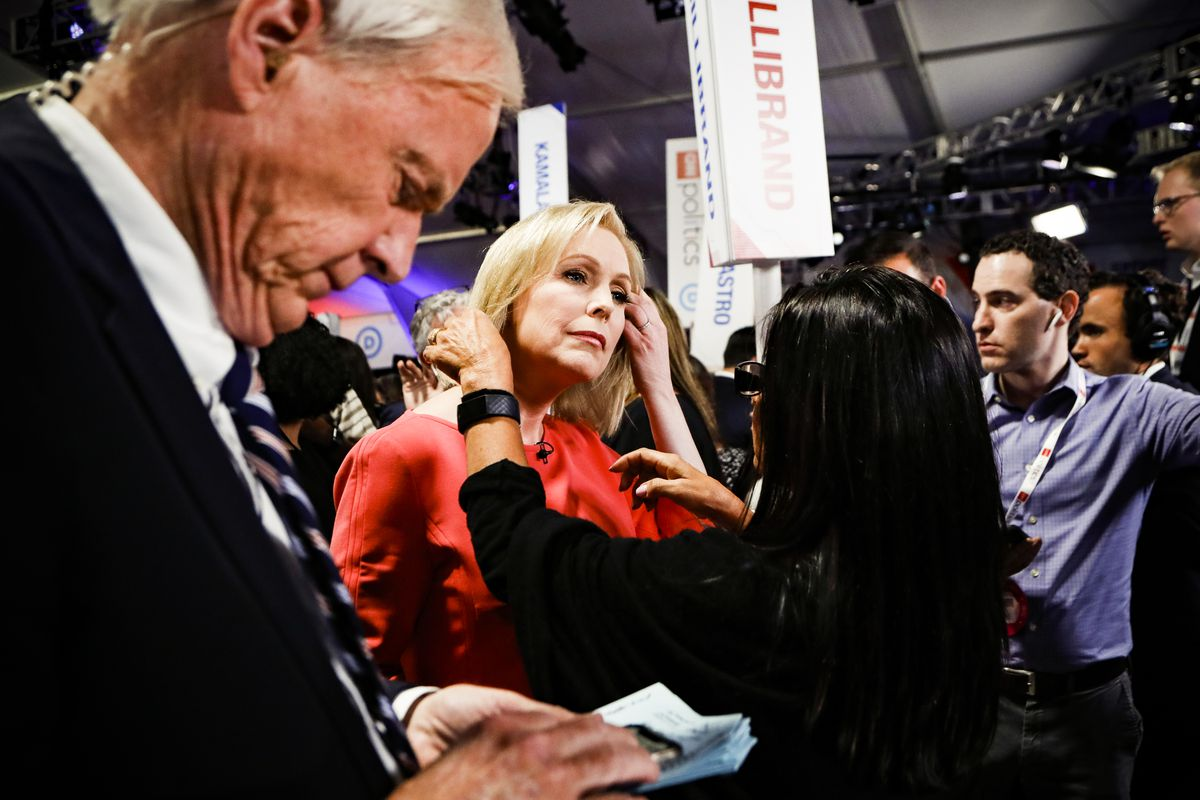 Sen. Kirsten Gillibrand (D-NY) answers questions after the second of two Democratic presidential primary debates held in Detroit, Michigan on July 31, 2019.