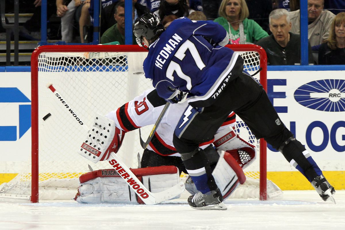 Viktor Hedman scored the second of Tampa Bay's two shootout goals. Patrik Elias got the puck poked away, which guaranteed the shootout loss.