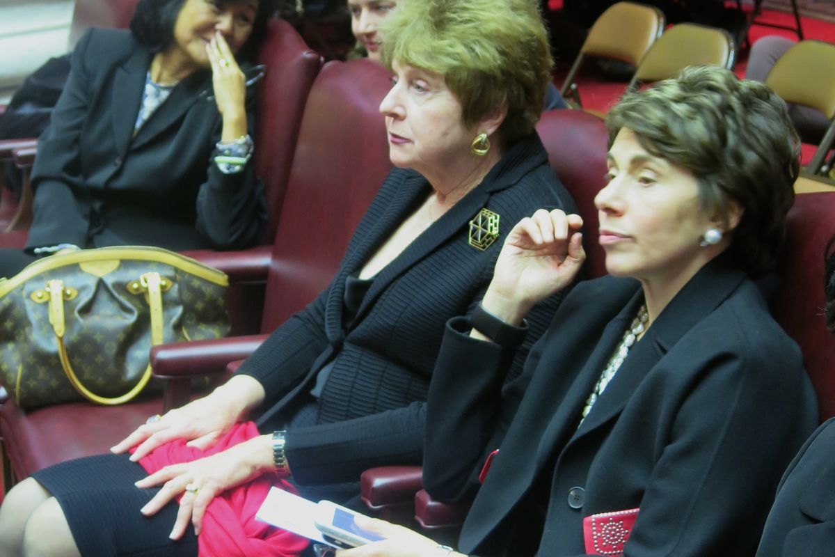 From right, Board of Regents Chancellor Merryl Tisch, Kathleen Cashin and Judith Chin in March.