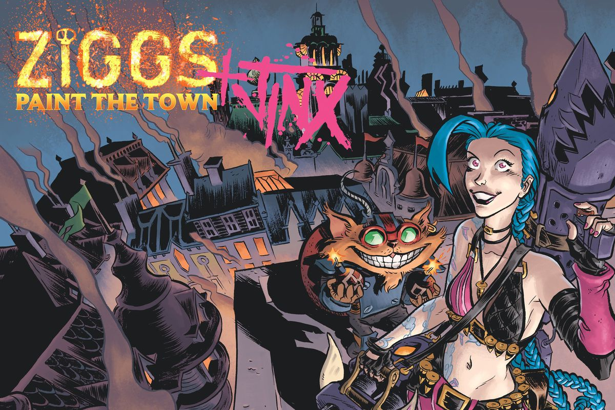 jinx and ziggs get together in the paint the town comic the rift