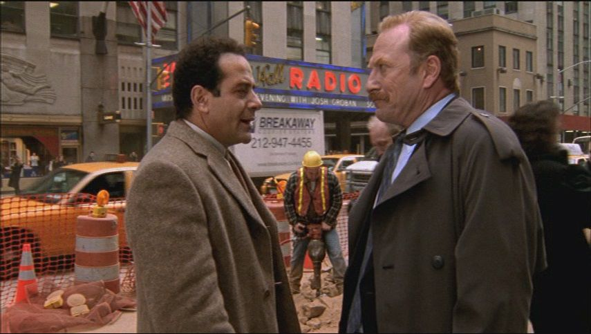 Mr Monk (Tony Shalhoub) and Captain Stottlemeyer (Ted Levine) speak in front of Radio City Music Hall
