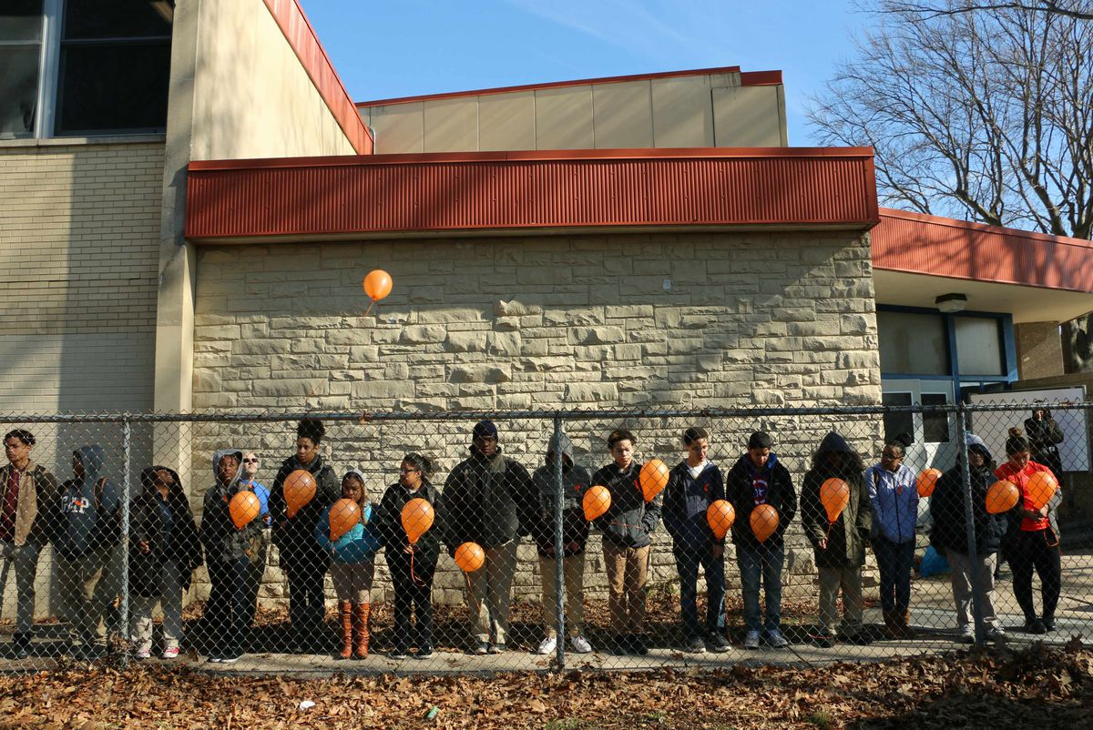 Students released one balloon for each of the 17 people killed at a high school in Parkland, Florida last month.