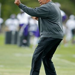 Jul 27, 2013; Mankato, MN, USA; Minnesota Vikings wide receiver coach George Stewart demonstrates a technique in drills at training camp at Blakeslee Fields. Mandatory Credit: Bruce Kluckhohn-USA TODAY Sports