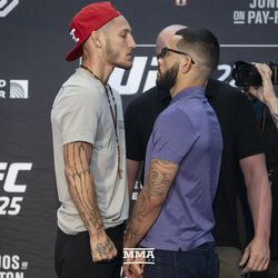 Mike Santiago and Dan Ige square off at UFC 225 media day.