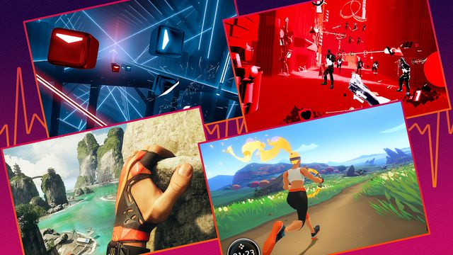 Grid of images from four fitness games (left top to bottom right) Beat Saber, Pistol Whip, The Climb, and Nintendo's Ring Fit Adventure