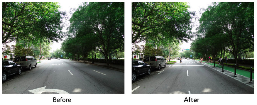 A before/after image of a street in Atlanta with a bike lane added.