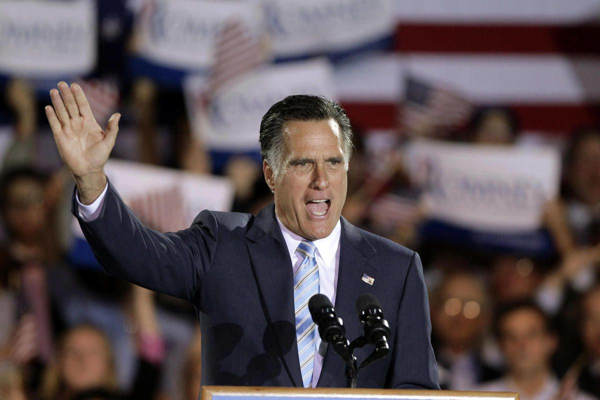 Republican presidential candidate, former Massachusetts Gov. Mitt Romney takes the stage at an election night rally in Manchester, N.H., Tuesday, April 24, 2012. Romney added to his big lead in the race for convention delegates Tuesday with a five-state s