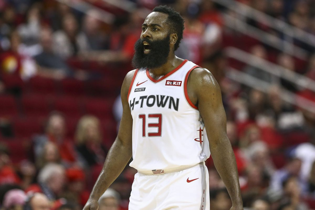 Houston Rockets guard James Harden reacts after being called for a technical foul during the first quarter against the Detroit Pistons at Toyota Center.