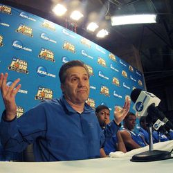 Kentucky head coach John Calipari speaks during a news conference for the NCAA Final Four tournament college basketball game Sunday, April 1, 2012, in New Orleans. Kentucky plays Kansas in the championship game Monday night.
