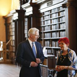 Elder D. Todd Christofferson, of the Quorum of the Twelve Apostles of The Church of Jesus Christ of Latter-day Saints, gets a tour from Alina Nachescu at the Upper Library at Christ Church, Oxford University, prior to speaking in Oxford, England on Thursday, June 15, 2017. Some books date back to the 9th century.