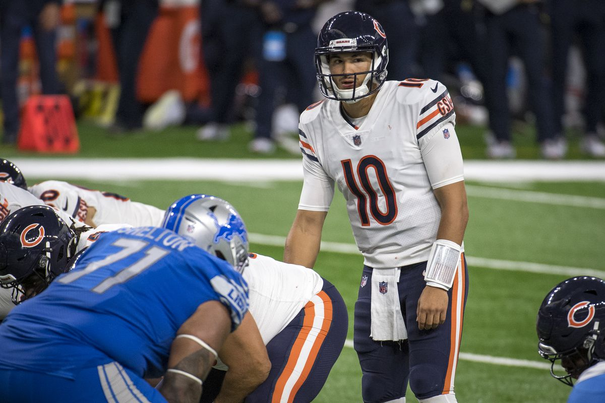 Mitchell Trubisky #10 of the Chicago Bears looks on during the second quarter against the Detroit Lions at Ford Field on September 13, 2020 in Detroit, Michigan.