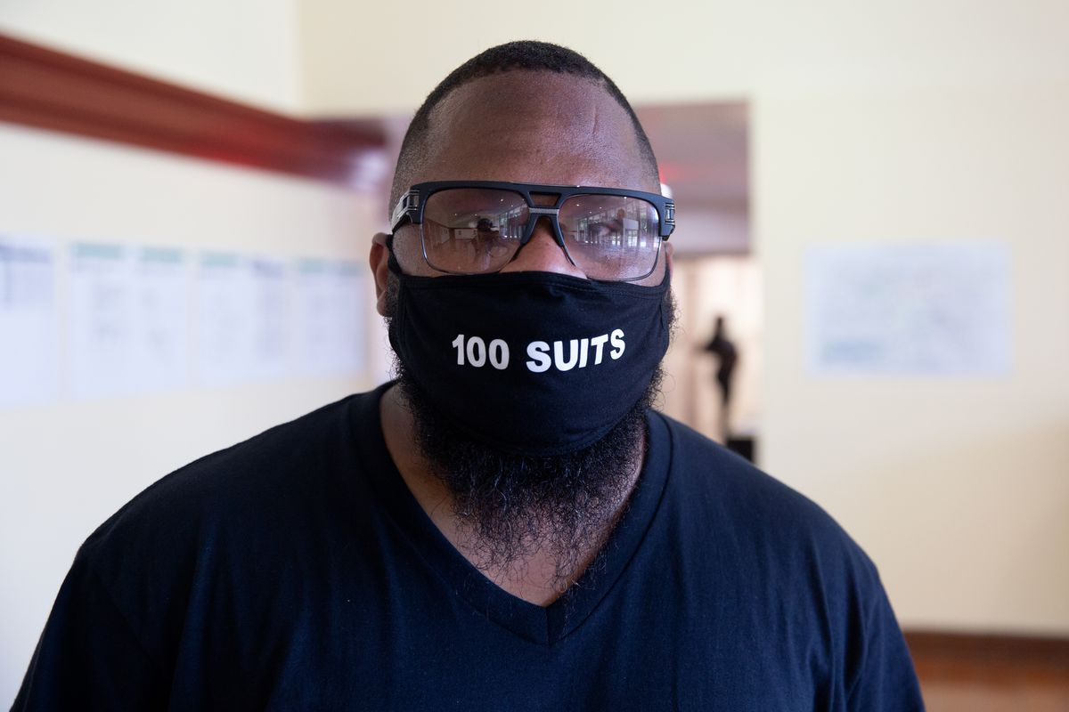 Kevin Livingston runs the nonprofit 100 Suits for 100 Men, which provides business attire to underprivileged men and women, July 9, 2020.