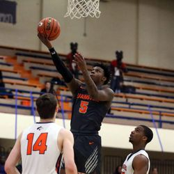 Evanston's Lance Jones (5) scores against Oak Park during their 79-69 victory in Oak Park,  Saturday, February 2, 2019. | Kevin Tanaka/For the Sun Times