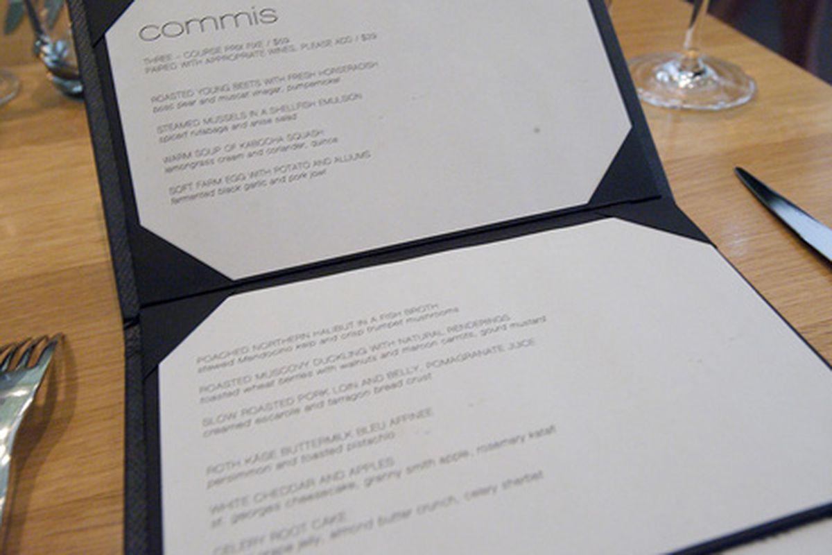 The menu at Commis.