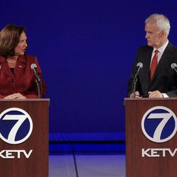U.S. Senate candidates from Nebraska, Republican Deb Fischer and Democrat Bob Kerrey hold their second debate at the Omaha Community Playhouse in Omaha, Neb., Friday, Sept. 28, 2012.
