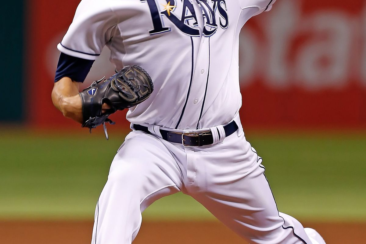 ST PETERSBURG, FL - AUGUST 21:  Pitcher David Price #14 of the Tampa Bay Rays pitches against the Kansas City Royals during the game at Tropicana Field on August 21, 2012 in St. Petersburg, Florida.  (Photo by J. Meric/Getty Images)