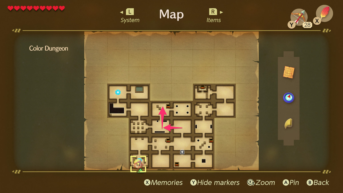 Link's Awakening Color Dungeon path to the Color Dungeon Map