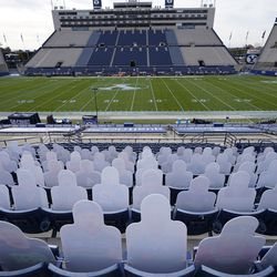 Cutouts of BYU fans rest in the stands of LaVell Edwards Stadium before an NCAA college football game between Louisiana Tech and BYU Friday, Oct. 2, 2020, in Provo.