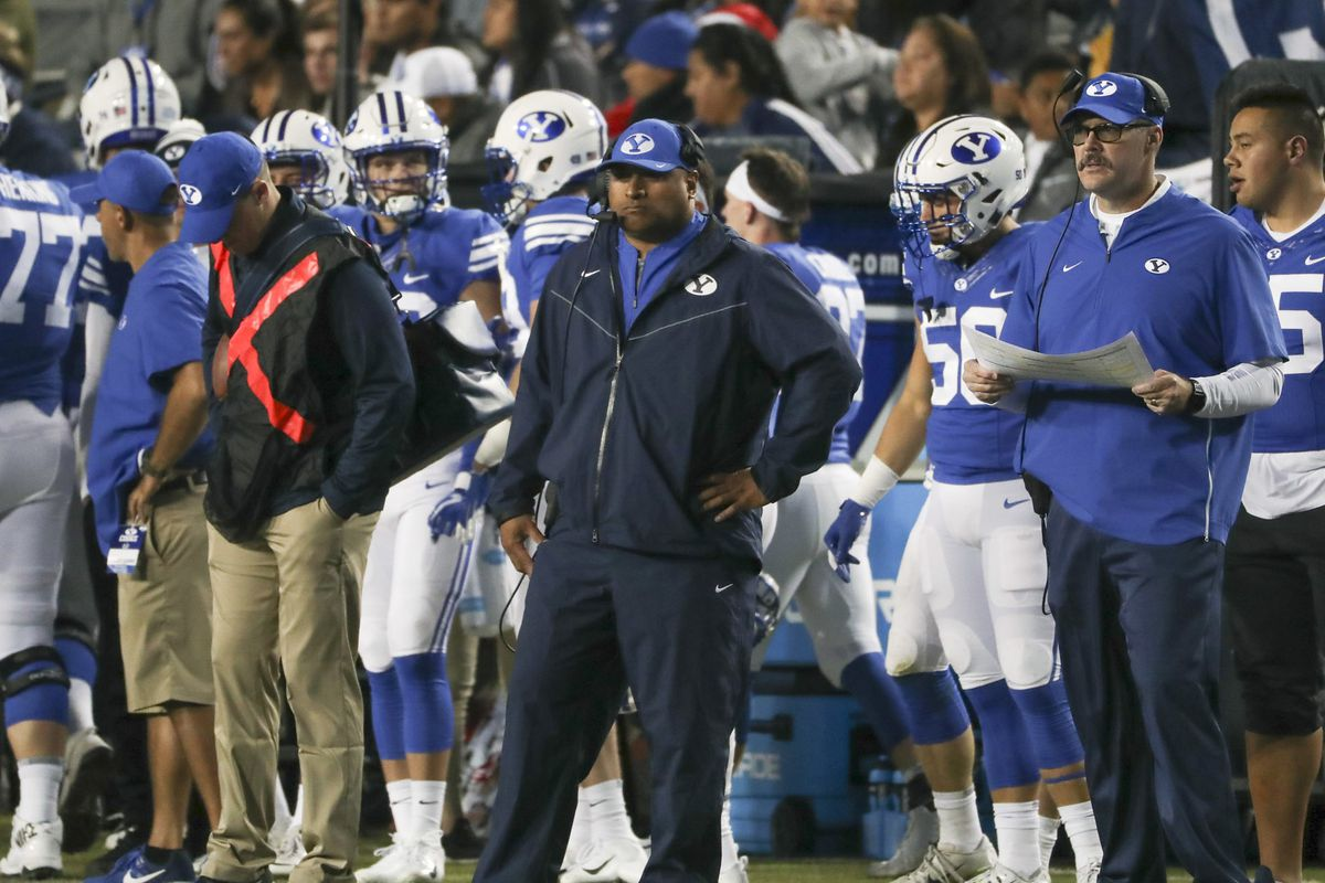 Brigham Young Cougars head coach Kalani Sitake watches from the sideline as the game starts to slip away during the Utah State versus BYU football game at LaVell Edwards Stadium in Provo on Friday, Oct. 5, 2018.
