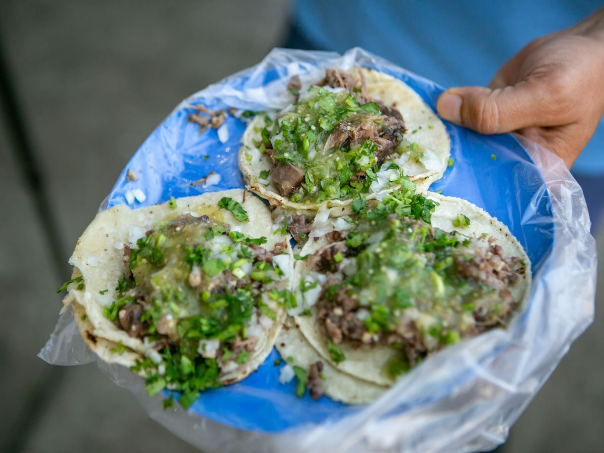 Three tacos on a blue plate.
