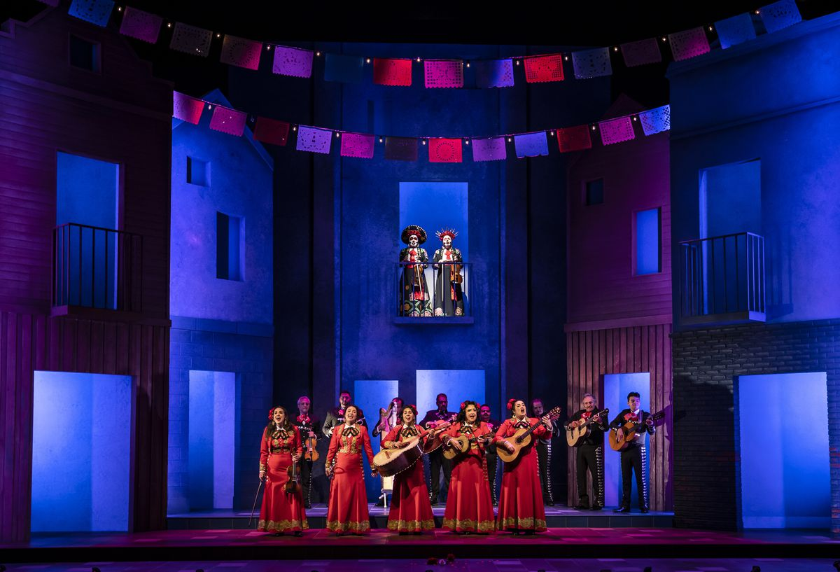 """The cast of """"American Mariachi"""" at the Goodman Theatre."""