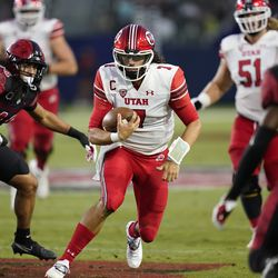 Utah quarterback Cameron Rising (7) runs the ball during the second half of an NCAA college football game against San Diego State Saturday, Sept. 18, 2021, in Carson, Calif.