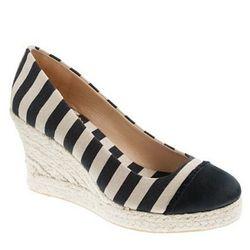 "<a href=""http://www.jcrew.com/womens_category/shoes/espadrilles/PRDOVR~64480/64480.jsp""> J.Crew Seville canvas and satin wedge espardrille</a>, $138 jcrew.com"