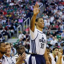 Scott Machado is introduced before the Utah Jazz's scrimmage in Salt Lake City, Saturday, Oct. 5, 2013.